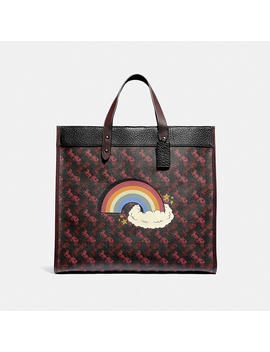 Field Tote 40 With Horse And Carriage Print And Rainbow by Coach