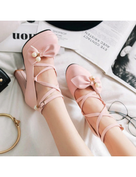 Rimocy Lovely Women Pink Bowtie Ankle Strap Pumps 2019 Spring High Platform Square Heels Shoes Woman Party Weeding Dress Shoes by Ali Express.Com