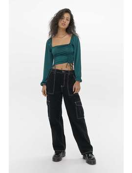 Uo Ruched Satin Top by Urban Outfitters