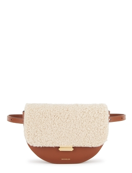 Anna Shearling Trimmed Leather Belt Bag by Wandler