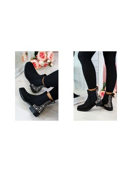 Black Suede Studs Chelsea Ankle Boots by Larena Fashion
