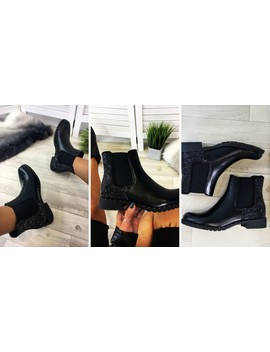 Black Diamante Embellished Chelsea Ankle Boots by Larena Fashion