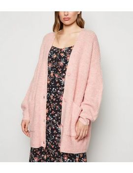Pale Pink Long Sleeve Button Up Knitted Cardigan by New Look