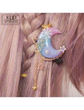 Princess Sweet Hair Clip Lolita Trappings Handmade Soft Moon Stars Crown Pearl Hair For Lolita Girls Best Choice Kids Hair Clip by Ali Express.Com