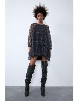 Vestido Organza Estampado by Zara