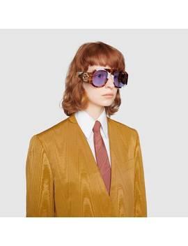 Sonnenbrille Mit Rundem Azetatrahmen by Gucci