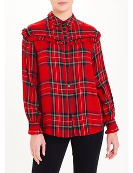 Red Long Sleeve Check Frill Western Shirt by Matalan