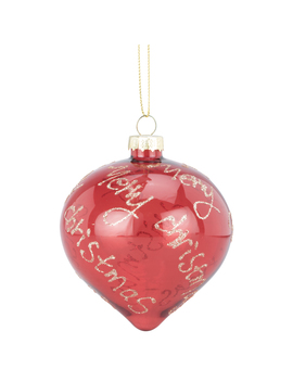 Merry Christmas Red With Gold Hanging Bauble by The Range