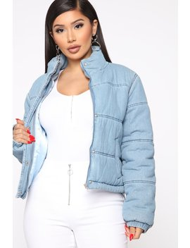 Everybody's Favorite Puffer Denim Jacket   Medium Wash by Fashion Nova