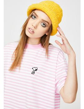 X Peanuts Stripey Snoopy Graphic Tee by Lazy Oaf