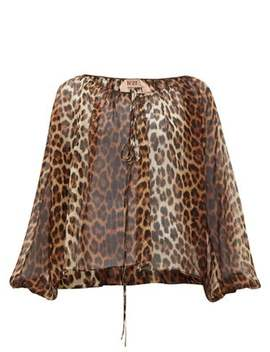 Leopard Print Silk Blouse by No. 21