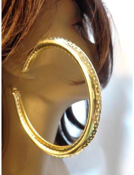 Large 3.5 Inch Hoop Earrings Tire Tube Dotted Hoop Earrings Hollow Lightweight Goldtone by Etsy