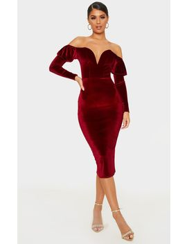 Burgundy Velvet V Bar Puff Sleeve Midi Dress by Prettylittlething