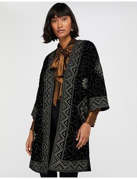 Varena Embroidered Velvet Longline Jacket by Monsoon