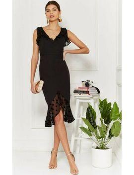 New Size 8 Silk Fred Aleisha Black Midi Dress by Ebay Seller