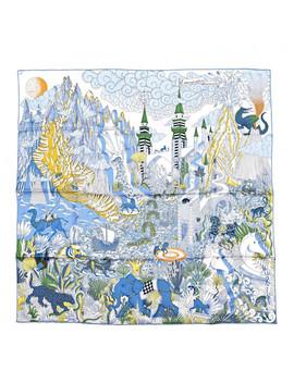 Hermes Silk Cosmographia 90 Blanc Bleu Vert by Hermes