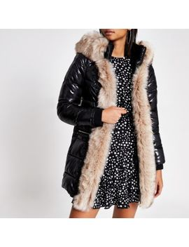 Black Hooded Padded Fur Trim Coat With Belt by River Island