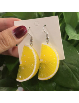 Resin Stereo Lemon Orange Earrings Long Pendant Fashion Summer Fruit Jewelry For Girls And Teenagers Gifts Wholesale by Ali Express.Com
