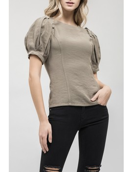 Lace Up Puff Sleeve Blouse by J.O.A.