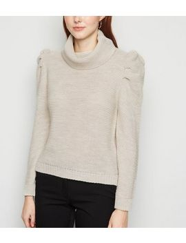 Cameo Rose Stone Puff Sleeve Jumper by New Look