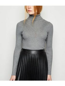 Cameo Rose Grey Chevron Roll Neck Jumper by New Look