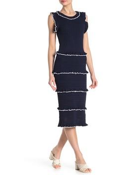 Ruffle Stripe Crochet Knit Midi Dress by Alexia Admor