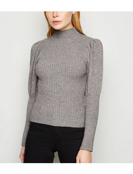 Cameo Rose Pale Grey Ribbed Puff Sleeve Jumper by New Look
