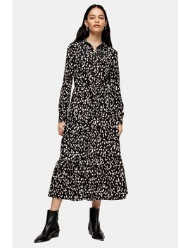 Black And White Tiered Midi Shirt Dress by Topshop