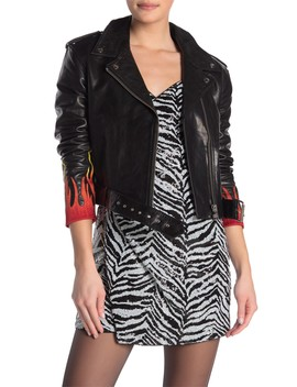 576 Flame Embroidered Leather Jacket by Lpa