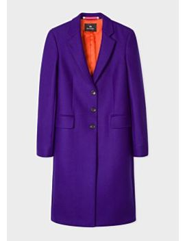 Women's Purple Wool And Cashmere Blend Three Button Epsom Coat by Paul Smith