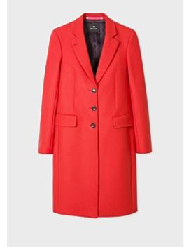 Women's Red Wool And Cashmere Blend Three Button Epsom Coat by Paul Smith