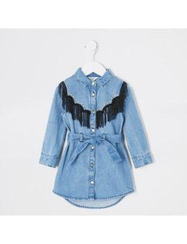 Mini Girls Blue Tassel Studded Shirt Dress by River Island