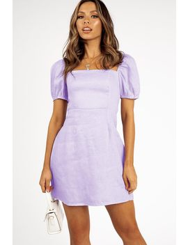 Stassi Lilac Linen Mini Dress by Dissh