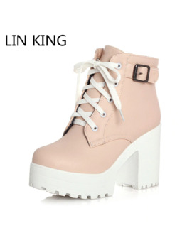 Lin King Vintage Buckle Thick Heel Short Boots Square Heel Women Platform Ankle Boots Fashion Pu Lace Up Short Boots Big Size by Ali Express.Com