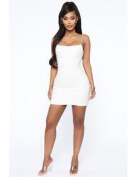 A Girl In Pearls Mini Dress   White by Fashion Nova