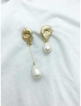 Asymmetrical Freshwater Pearl Drop Earrings, Gold Stud Earrings With Dangle, Classy Pearl Earrings, Statement Earrings, Minimalist Jewelry by Etsy