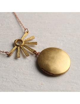 Art Deco Necklace, Personalised Customized Photo Locket, Art Nouveau Locket, Photo Locket, Vintage Locket, 1920s, Deco Sunburst Locket by Etsy
