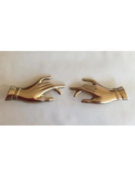 Pair Of Elegant Hand Brooches Pins Two Hand Statement Brooches Created From Vintage Raw Brass Finding by Etsy