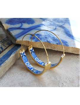 "Hoops Earrings Atrio Tile Flat Bottom Portugal Stainless Steel Antique Azulejo   1 1/4"" Blue Tiles Usa Shipping Thin Wire by Etsy"