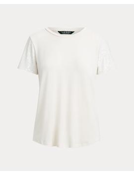 Jersey Sequin Sleeve Shirt by Ralph Lauren