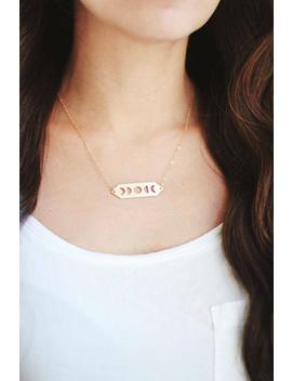Moon Phases Necklace | Brass | Nickel Silver | 14k Gold Fill Or Sterling Silver Chain | Celestial Jewelry by Etsy