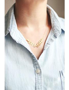 Laurel Wreath Necklace | Gold Laurel Necklace | Gold Branch Necklace | Silver Laurel Wreath Necklace | Bridesmaid Necklace | Silver Branch by Etsy