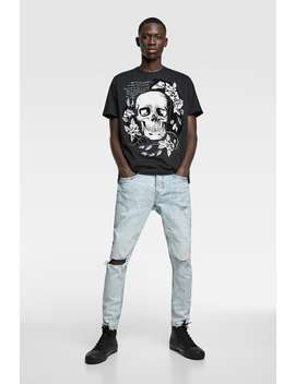 Skull Print T Shirt by Zara