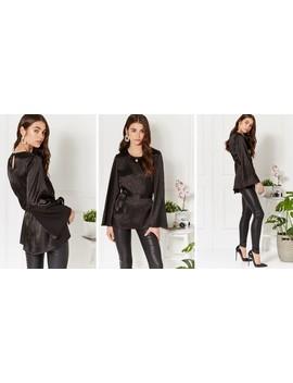 Aleisha Black Flare Sleeve Belted Jacquared Top by Luna