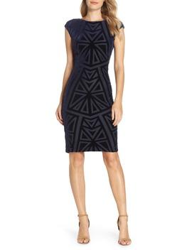 Velvet Jacquard Sheath Dress by Vince Camuto