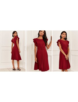 Pleated Flutter Sleeve Midi Dress In Burgundy by Bella And Blue