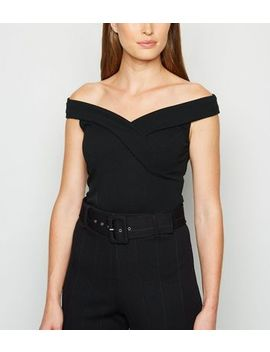 Black Bardot Wrap Bodysuit by New Look