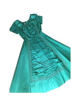 Emerald Green Shiny Rayon Vintage 1950's Prom Dress, Sweet Heart, Formal Dress Lace Vintage Dress, Full Skirt, Ruched, Capped Sleeve, Belt by Etsy