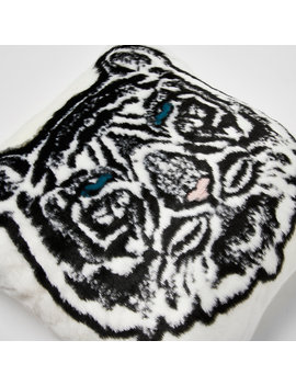 White Faux Fur Tiger Printed Cushion by River Island