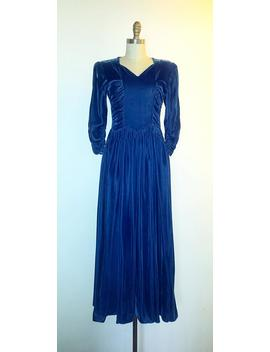 1930s Velvet Blue Gown   1930s Long Vintage Dress by Etsy
